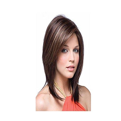 Longlove mi-longue Marron droite européenne Perruque de cheveux humains avec tilted Frisette Pour femme