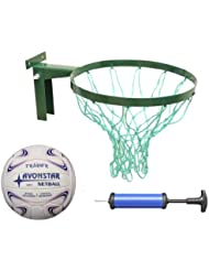 Deal Package Strong Netball Hoop INCLUDES size 5 netball and Pump Robust Hoop made in Britain, Regulation, Green