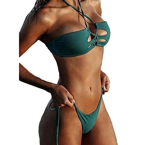 FY Damen Mädchen Bademode Badeanzug Glitzer Bandage Gepolsterte Push up Bandeau Bikini Tanga Triangel Brazilian Badebekleidung Swimwear Sommer Strand Urlaub Grün Größe M