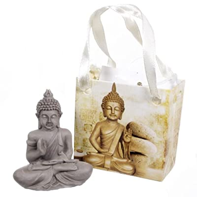 Small Lucky Grey Buddha Figure Ornament In Gift Bag