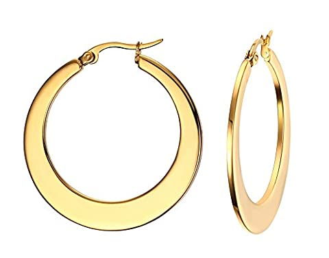 Vnox Women's Girl's Stainless Steel 18K Gold Plated Cut Out Large Drop Dangle Earrings,Clip-on