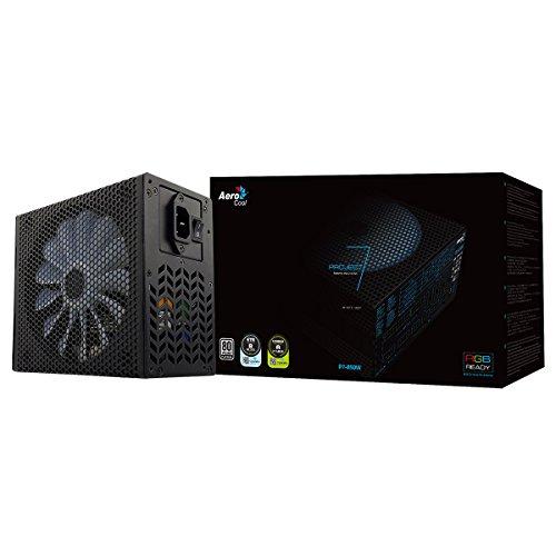 Aerocool P7850 - Fuente de alimentación modular para PC (850W, ATX, 12V, PFC activo, iluminación RGB, ventilador inteligente ultra-silencioso 14 cm, 80 Plus Platinum, eficiencia + 90%), color negro