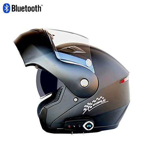 Erwachsenen Motorrad Bluetooth Helm Motorrad Integralhelm Schutzkappe Klapphelme Anti-Fog Double Lens Stereo Bluetooth Mit FM Mann Frau,XL