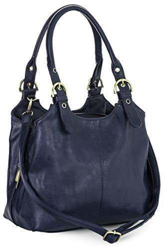 Big Handbag Shop Mehrfachtaschen Mittlere Größe Umhängetasche/Schultertasche für Frauen - Mit langem Schulterriemen und eine kleine Taschencharme (Marineblau (Plain S105)) (Cowgirl-folie)