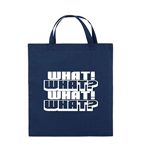 Comedy Bags - WHAT! WHAT! WHAT! WHAT! - Jutebeutel - kurze Henkel - 38x42cm - Farbe: Schwarz / Pink Navy / Weiss