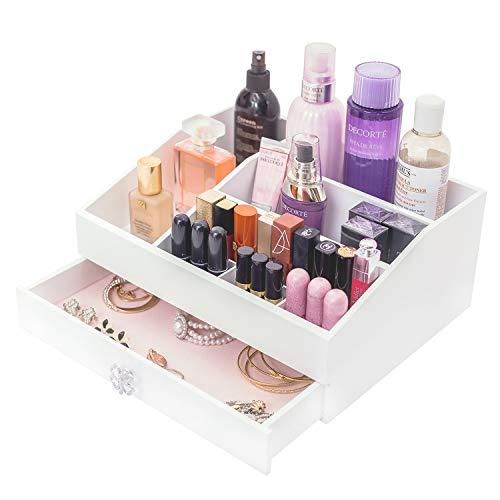 Dainty Kosmetik Organizer Weiß Kosmetikbox Aufbewahrung mit Schublade High-End Makeup Organisator Schmuckkästchen für Kosmetik und Schmuck
