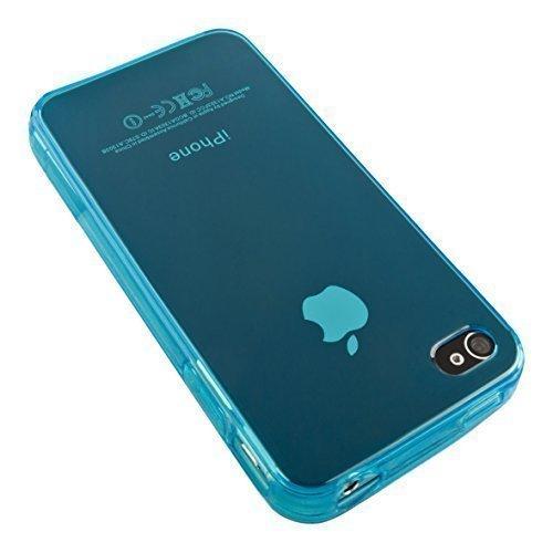 ECENCE Apple iPhone 4 4S Coque de protection housse case cover rétro noir à pois blanc 22040104 Bleu