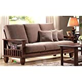 JS Home Decor Solid Sheesham Wood Wooden Sofa Set Furinfture | for Living Room and Office | Walnut Brown