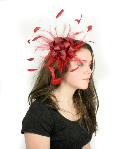 Plumes et superbe boucles Ascot BIBI Hat-Bandeau/Aliceband or... Rose - Pinky Coral