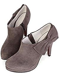 Piel Ante Tacón Interior Cremallera Plataforma para botas, deep gray, 39