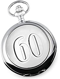 De Walden Men's 60th Birthday Pocket Watch with Gift '60' Feature Case Front in a Satin Lined Gift Box