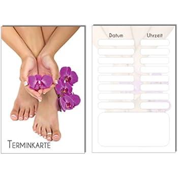 100 Terminkarten Bestellkarte Orchidee Pediküre Fusspflege