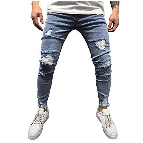 Aiserkly Herren Vintage Jeans Einfarbig Loch Hip Hop Arbeitshose Lang Hosen Streetwear Hosen Cargo Hose Herrenhose Chinohosen Freizeithose Stoffhose Bequeme Slim Fit Cargohose Blau 3XL