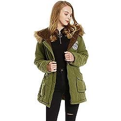 Doudoune Femme Chaud Parka Manteau en Coton Hiver Blouson Fourrure avec Capuche Rembourré Veste Style Militaire (Vert, M)