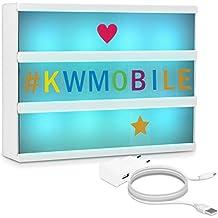 kwmobile insegna luminosa cinema lampada LED decorativa - light box formato A4 7 colori 126 lettere colorate - trasformatore USB cinematic lightbox