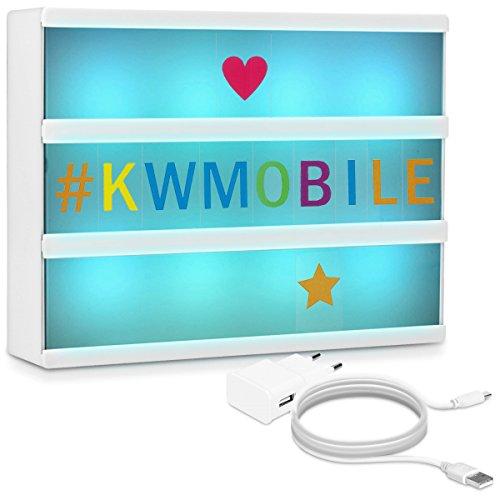kwmobile Farbwechsel LED Lichtbox A4-7 Farben 126 Bunte Buchstaben USB Netzteil - Cinema Lightbox - Deko Licht Leuchtkasten - Light Box Leuchte