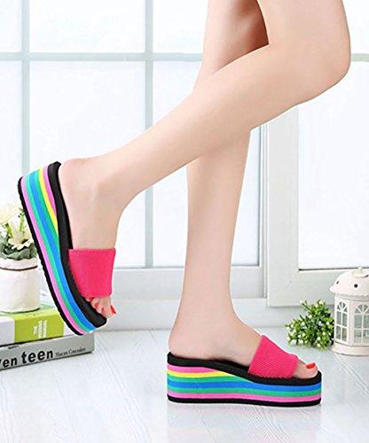 CHAOXIANG Pantofole Da Donna Antiscivolo Con tacco Ciabatte Piatte Sandali Da Surf Nuova Estate Ciabatte Spiaggia ( Colore : Nero , dimensioni : EU39/UK6/CN40 ) Rosa
