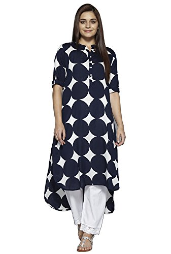 Aahwan Navy Rounded Pattern Crepe Long High-Low Printed Kurti for Women (AC-Navy-XL)