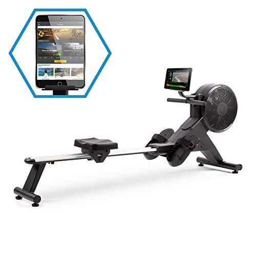 Capital Sports Stream M2 Rudermaschine Rudergerät Rowing Machine, kombinierter Luft- & Magnetwiderstand, hocheffizientes Training, 16-stufiger Magnetwiderstand, Aluminium-Doppel-Gleitbahn, schwarz