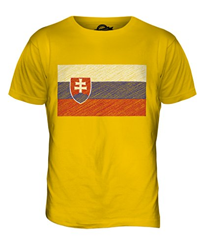 CandyMix Slowakei Kritzelte Flagge Herren T Shirt Dunkelgelb