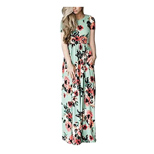 FeelinGirl Frauen-Blumendruck-Sleeveless Boho-Kleid-Dame-Abend-Partei-langes Maxi Kleid
