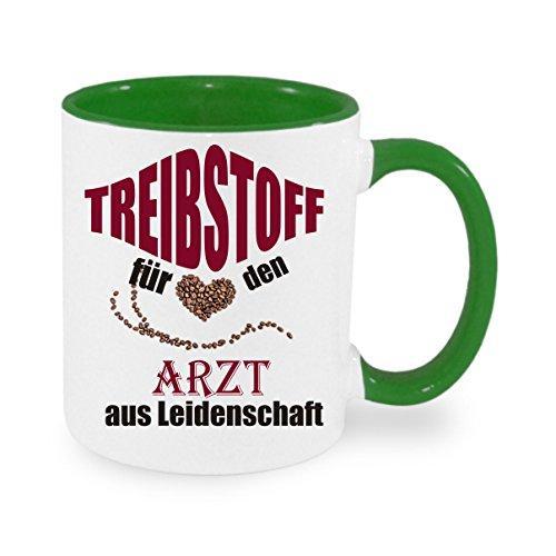 Treibstoff für den Arzt aus Leidenschaft - Kaffeetasse mit Motiv, bedruckte Tasse mit Sprüchen...