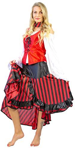 Nick and Ben Piratin Kostüm für Frauen und Kinder | 5-teiliges Set | Verkleidung für Karneval | Bluse Weste Rock Hut Halstuch | schwarz, rot, weiß |: Größe: 36/38