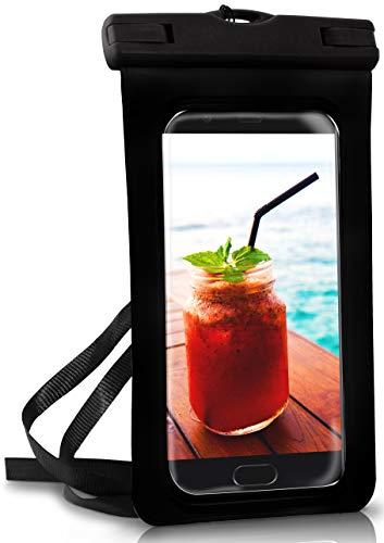 ONEFLOW Wasserdichte 360° Handy-Hülle für Huawei P Reihe [Full-Body Cover] Touch-Funktion und Kamera-Fenster + Armband und Schlaufe zum Umhängen, Schwarz