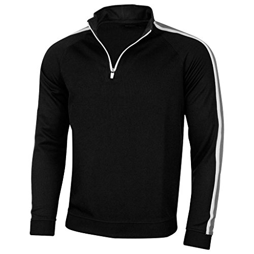 Island Green 2017 Mens 1/4 Zip Neck Rib Top Golf Thermal Pullover Black/Grey XL - Thermal Pullover