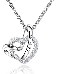 925 Sterling Silver Womens Mom I Love You A Lifetime Loving You Interlocking Heart Mum Pendant Necklace with 18inch Chain