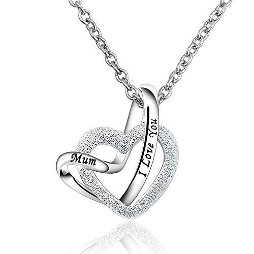 Collana con ciondolo a forma di due cuori intrecciati, per la festa della mamma, in argento sterling, modello: a lifetime loving you, catena da 45,7cm