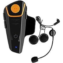 BT-S2 Casco de la motocicleta Comunicaci¨®n Resistente al agua Bluetooth Moto Intercom Interphone Headset para 2 o 3 jinetes y 2,5 mm Audio para Walkie Talkie Reproductor de MP3 GPS - Manos libres y radio FM (1 Unidad)
