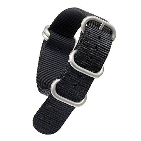 21mm noir de luxe bandes militaires sangles de montres de style NATO en nylon durable Remplacements pour les hommes