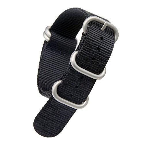 23mm schwarz Luxus exquisite Männer einteiliger NATO Stil Nylon Perlon Uhrenarmbänder Bänder Textil