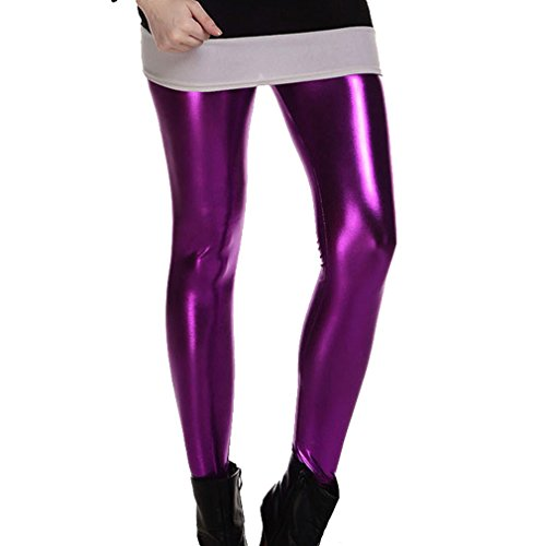 eggings Disco Stretch Hosen Wet Look 80er Jahre Leggings Metallic Hosen ()