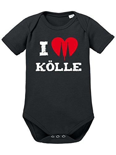 clothinx Baby Body Unisex Karneval I Love Kölle Schwarz/Weiß Größe 74-80 (Weiß-narr Schwarz Und)