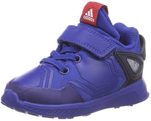 Adidas rapidarun spider-man el i, scarpe da fitness unisex-bimbi, blu (reauni/escarl/maruni 000), 25 eu