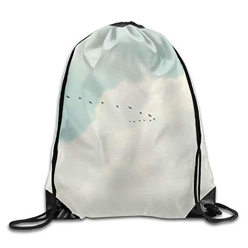 False warm warm Clouds Drawstring Backpack Rucksack Shoulder Bags Training Gym Sack for Man and Women - Roxy Rolling Rucksack