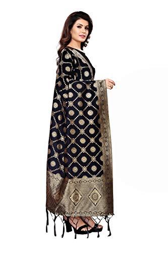 Jaanvi fashion Women's Banarasi Silk Woven Dupatta(bazaar-dupatta-black)