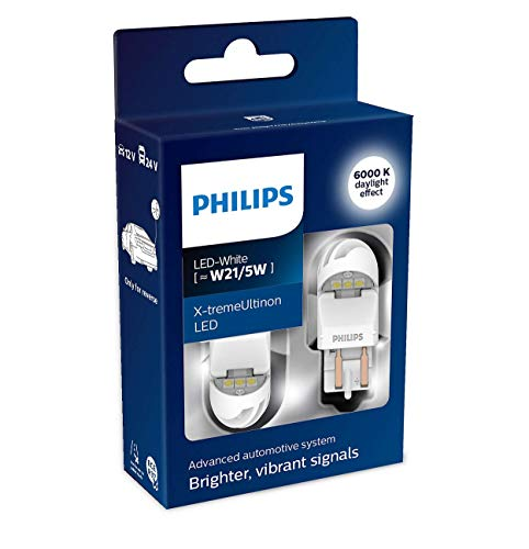Philips 11066XUWX2 LED lampe de signalisation automobile (W21/5W white), Blanc, Set de 2