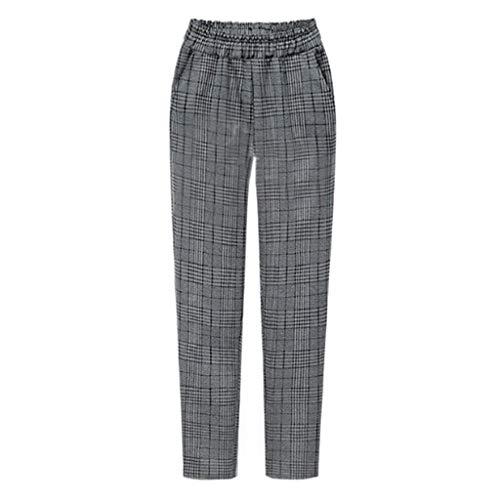 Zarupeng Plaid Gestreifte Freizeithose Frauen Slim Stoffhose Plus Size Straight-Bein-Hosen Elastische Taille Casual Fitness Hosen mit Taschen -
