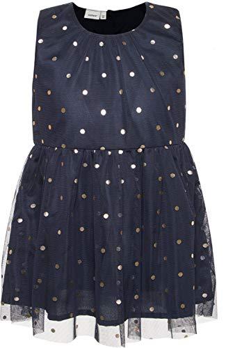 NAME IT Mädchen Kleid festlich Tüllkleid gepunktet NMFSARA, Größe:116, Farbe:Dark Sapphire