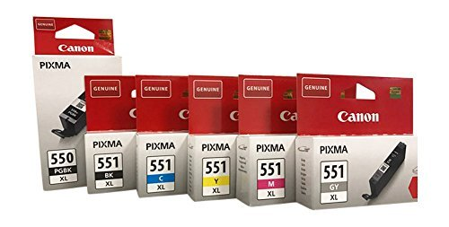 Cartucce ORIGINALI PER CANON PIXMA IP7250/8750, iX6850, MG 5450/5550/5650/6350/6450/6650/7150/7550, MX725/925 incl. penna a sfera Multi XL (6er)