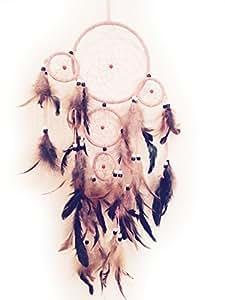 Attrape-rêves rose (diam= 16 cm, L= 65 cm + 4 anneaux diam= 6 cm) plumes véritables (dreamcatcher)