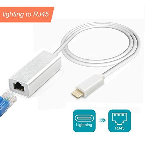 Adaptateur Lightning vers réseau LAN Ethernet RJ45 Adaptateur Ethernet pour iPhone/iPad, iPhone, 10/100 MB/s High Speed, Suppots iOS 10.0