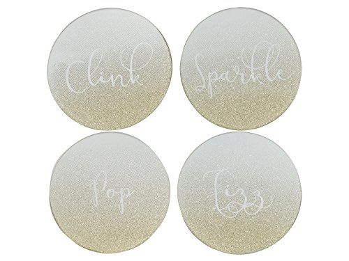 Für Gold Untersetzer Getränke (Creative Tops Fizz, Sparkle, Pop, Clink Glitzer Untersetzer, Gold, 10x 10x 1,2cm)