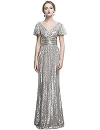 31815adaf7ee1e Vickyben Damen A-linie V-Ausschnitt Gap Aermel Empire Taille Pailletten  Abendkleider Brautjugnfernkleid Party Kleid…
