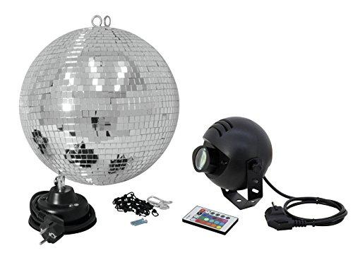 showking Discokugel-Set Night Fever mit silberner Kugel und LED-RGB-Strahler, Ø 30 cm - Spiegelkugel Set mit LED Pinspot - Disco Effekt Paket...