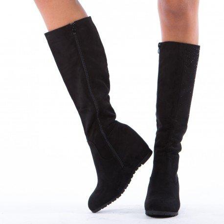 Ideal Shoes - Bottes compensées à strass Malaya Noir