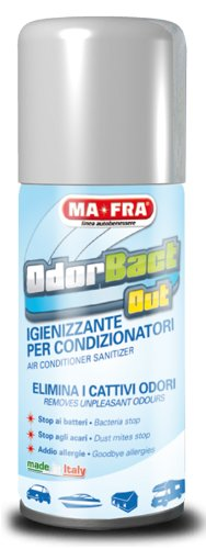 Mafra, Odorbact Out, Spray Purificante per Condizionatori d'Auto, Neutralizza i Cattivi Odori e Rilascia una Piacevole Fragranza al Talco, Facile e Veloce da Utilizzare, Formato 150m
